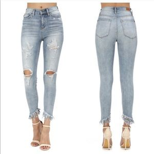 Jeans - High waist distressed skinny jeans